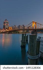 Pittsburgh, Pennsylvania / United States -  June 2, 2012: Roberto Clemente Bridge from docks, City of Pittsburgh