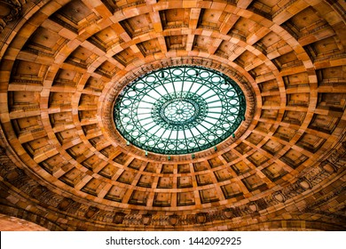 Pittsburgh, Pennsylvania / USA - 07/03/2019 : A very beautiful view of the ceiling of Penn Station Down Town Pittsburgh displaying incredible architecture
