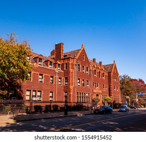 Pittsburgh, Pennsylvania, USA 11/2/19 Jones Hall as seen from Ridge Avenue at the Community College of Allegheny County north side campus in fall