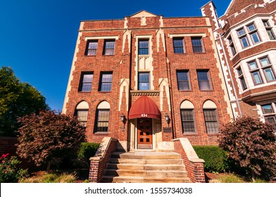 Pittsburgh, Pennsylvania, USA 11/2/19 An office building on the north side campus of the Community College of Allegheny County along Ridge Avenue in fall