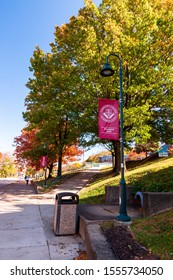 Pittsburgh, Pennsylvania, USA 11/2/19 Sidewalks on the north side campus of the Community College of Allegheny County in autumn