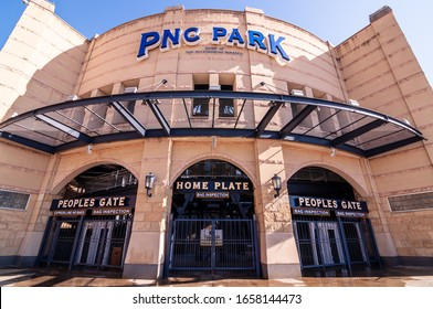 Pittsburgh, Pennsylvania, USA 2/22/20 The home plate entrance to PNC Park where the Pittsburgh Pirates play on the north side of city