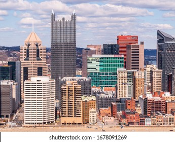Pittsburgh, Pennsylvania, USA 3/15/20 Downtown Pittsburgh as seen from Mt Washington on a sunny winter day
