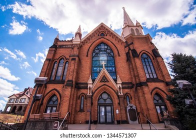 Pittsburgh, Pennsylvania, USA 3/15/2019 St Mary of the Mount Catholic Church in the Mt Washington neighborhood overlooking downtown. The church was dedicated in 1897