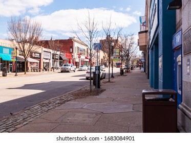 Pittsburgh, Pennsylvania, USA 3/22/20 The Forbes Avenue business district in the Squirrel Hill neighborhood on a sunny winter day