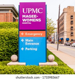 Pittsburgh, Pennsylvania, USA 5/10/20 The sign for UPMC Magee Women's Hospital, part of the University of Pittsburgh Medical Center network in the Oakland neighborhood on Halket Street