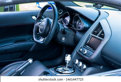 Pittsburgh, Pennsylvania, USA 7/21/2019 The Pittsburgh Vintage Gran Prix in Schenley Park, a yearly event since 1983 featuring car shows and circuit races. The interior of a blue 2015 Audi R8
