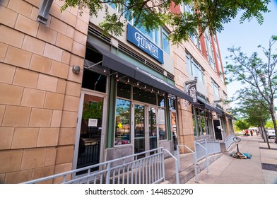 Pittsburgh, Pennsylvania, USA 7/6/2019 The Foundry Table & Tap restaurant, a popular night spot on North Shore Drive near the sports stadiums on the north side