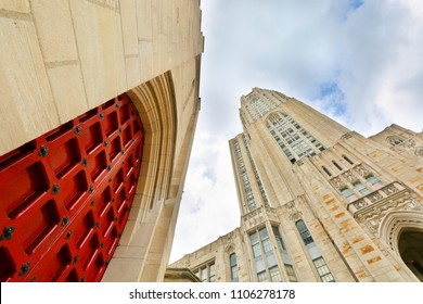 Pittsburgh, Pennsylvania, USA - May 20, 2018: Looking up of The Cathedral of Learning on the campus of the University of Pittsburgh, Pittsburgh, PA.  The building stands 535 ft.