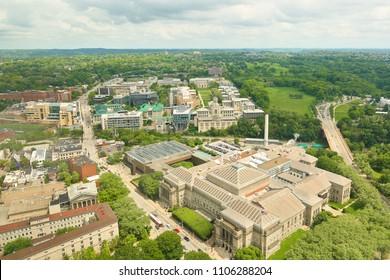 Pittsburgh, Pennsylvania, USA - May 20, 2018: Bird's eye view of Carnegie Mellon University campus. Carnegie Mellon University is a private research university in Pittsburgh, Pennsylvania.