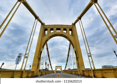 Pittsburgh, Pennsylvania USA - May 20, 2018: Pittsburgh downtown skyline viewing from North Shore. Photo shows Roberto Clemente Bridge and downtown skyline.