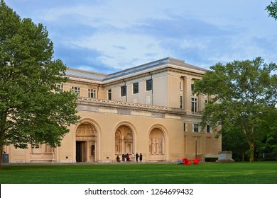 Pittsburgh, Pennsylvania USA - May 20, 2018: : The College of Fine Arts of Carnegie Mellon University after sunset, Pittsburgh, Pennsylvania USA. CMU is ranked top 25 Universities in USA