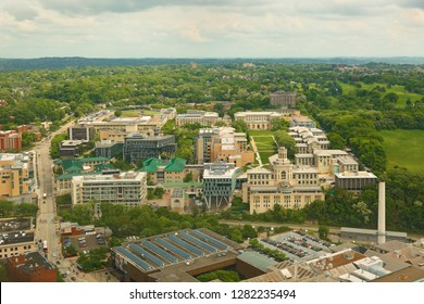 Pittsburgh, Pennsylvania, USA - May 20, 2018: Bird's eye view of Carnegie Mellon University campus. Carnegie Mellon University is a private research university in Pittsburgh, Pennsylvania.