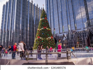 Pittsburgh, Pennsylvania, USA - November 25, 2018: Outdoor Ice Skating Rink in downtown Pittsburgh.