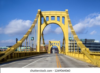 Pittsburgh, Pennsylvania, USA - November 25, 2018: Andy Warhol Bridge, also known as the Seventh Street Bridge, spans the Allegheny River in Downtown Pittsburgh, Pennsylvania, USA