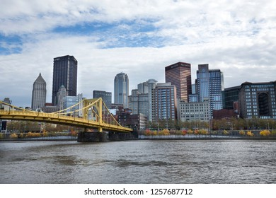 Pittsburgh, Pennsylvania / USA - November 7, 2018: View of the downtown skyline and the Andy Warhol Bridge over the Allegheny River.