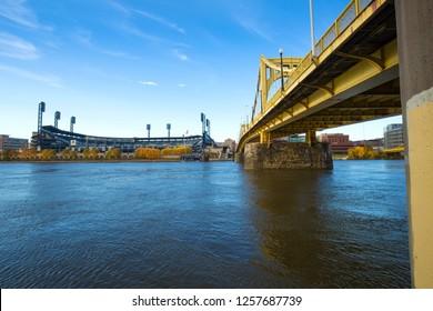Pittsburgh, Pennsylvania / USA - November 7, 2018: Roberto Clemente Bridge crossing the Allegheny River.