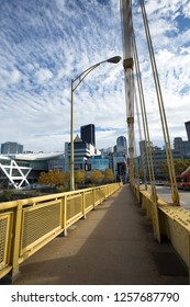 Pittsburgh, Pennsylvania / USA - November 7, 2018: View of the downtown skyline from the pedestrian walkway of the Rachel Carson Bridge over the Allegheny River.