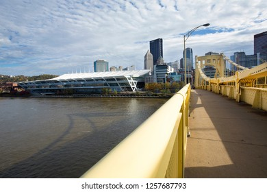 Pittsburgh, Pennsylvania / USA - November 7, 2018: View of the downtown skyline from the topside of the Rachel Carson Bridge over the Allegheny River.
