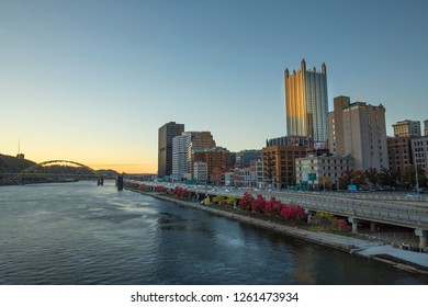 Pittsburgh, Pennsylvania / USA - November 7, 2018: View of the downtown waterfront after sunset, from the Smithfield St. Bridge over the Monongahela River.