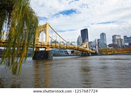 Pittsburgh, Pennsylvania / USA - November 7, 2018: View of the downtown skyline and the Rachel Carson Bridge over the Allegheny River.