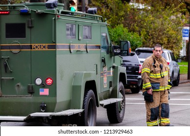 Pittsburgh, Pennsylvania / USA – Oct 27 2018: Local and state police secure the area around Tree of Life synagogue in Pittsburgh, the scene of Saturday morning's mass shooting.