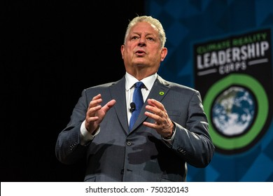 PITTSBURGH, PENNSYLVANIA, USA - OCTOBER 17 2017: Former US Vice President Al Gore speaking about the Climate Reality Project.
