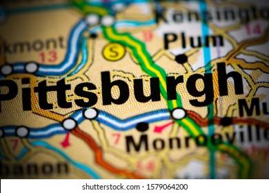 Pittsburgh. Pennsylvania. USA on a map