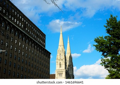 Pittsburgh, Pennsylvania, USA, St Paul Cathedral spires, August 9, 2011