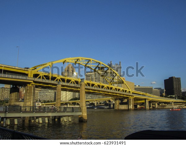 Pittsburgh Pennsylvania Yellow Bridge Over Pittsburgh Stock