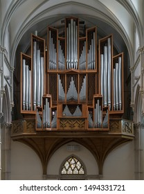 PITTSBURGH, PENNSYLVANIA/USA - JULY 29, 2019: Pipe organ in the rear of the historic St. Paul Cathedral in Pittsburgh