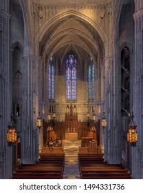 PITTSBURGH, PENNSYLVANIA/USA - JULY 29, 2019: Heinz Memorial Chapel on the campus of the University of Pittsburgh