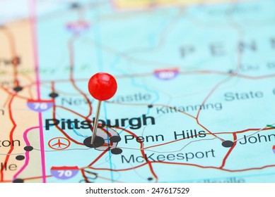 Pittsburgh pinned on a map of USA
