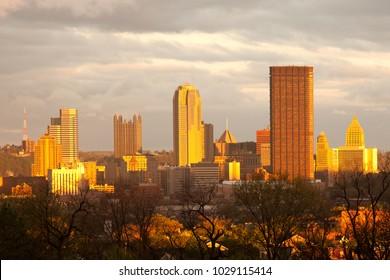 Pittsburgh skyline from Oakland neighborhood, Pennsylvania, USA