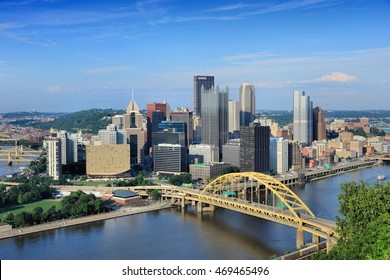 Pittsburgh skyline, Pennsylvania - city in the United States. View with Monongahela River.