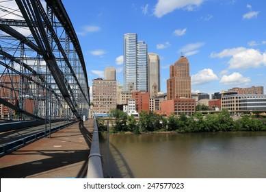 Pittsburgh skyline seen from Smithfield Street Bridge with Monongahela River.