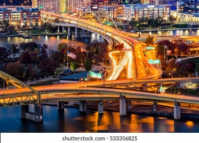 Pittsburgh traffic trails on the highway junction between Fort Duquesne and Fort Pitt bridges