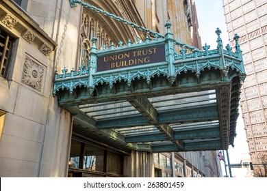 PITTSBURGH, USA - FEB 26: The Union Trust Building in downtown Pittsburgh on February 26, 2015