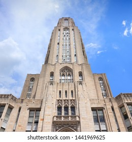 PITTSBURGH, USA - JUNE 30, 2013: Cathedral of Learning building in Pittsburgh. The main building of University of Pittsburgh is 535 ft tall.