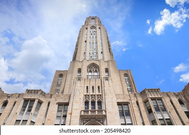 PITTSBURGH, USA - JUNE 30, 2013: Cathedral of Learning building view in Pittsburgh. The main building of University of Pittsburgh is 535 ft tall.