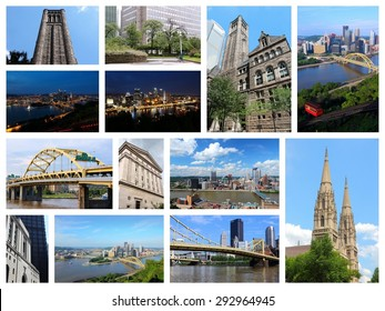 Pittsburgh, USA landmarks - travel photo collage with skylines, bridges, cathedral and university.