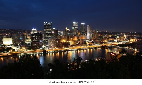 Pittsburgh, USA. Skyline with Allegheny and Monongahela River.