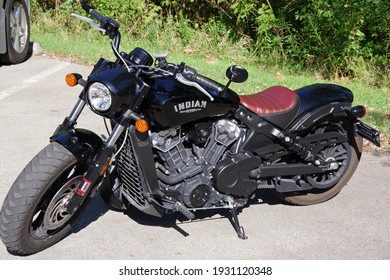 PITTSBURGH,PA-SEPTEMBER 5,2020:Black Indian Scout motorcycle on parking lot. Single seat and V twin engine. Front left view at Pittsburgh,PA on September 5, 2020
