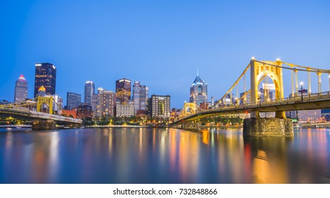pittsburgh,pennsylvania,usa : 8-21-17. pittsburgh skyline at twilight with reflection in the water.