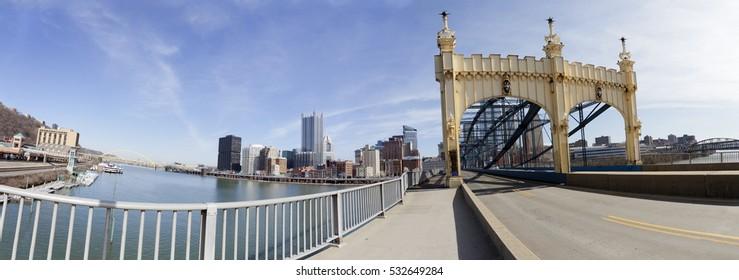 Pittsburgh's historic Smithfield Bridge spanning the Monongahela River. Panorama.