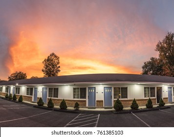 PITTSFIELD, USA - SEP 21, 2017: typical american Motel in Pittsfield, USA. These Motels are characterized by the parking lot in front of the room.