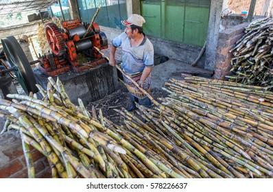 PIURA, PERU - JUNE 28: A view of a man who operates a machine for sugar cane processing near the city of Piura, region called Jijili. In the north of Peru 2011.