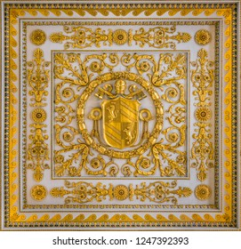 Pius IX coat of arms from the ceiling of the Basilica of Saint Paul Outside the Walls, in Rome. December-02-2018