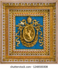 Pius VIII coat of arms from the ceiling of the Basilica of Saint Paul Outside the Walls, in Rome. December-02-2018