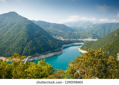 Piva lake, Montenegro. View from above